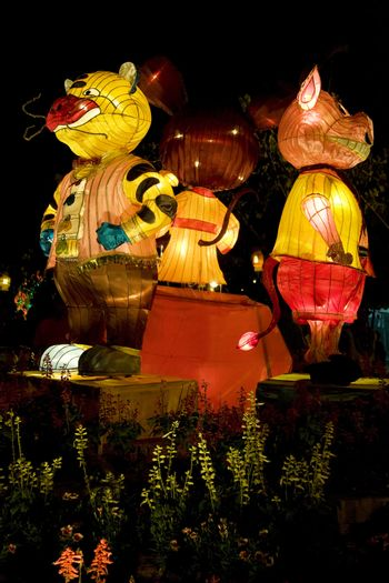 Image of Chinese animal zodiac lanterns at the Dong Zen Chinese Temple in Malaysia during the Chinese New Year celebration on 26th January 2009.