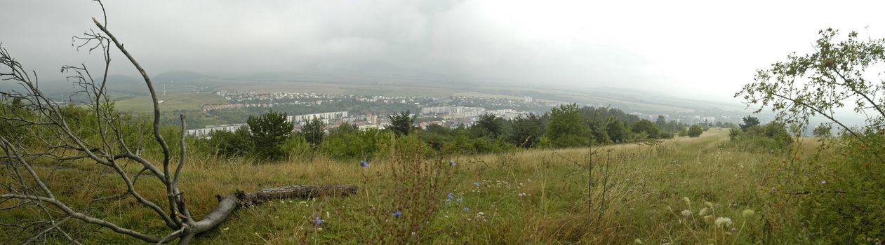 panorama photo of Sabinov landscape, Slovakia, spring season