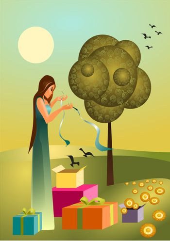 Vector illustration of a spring with spring gifts,