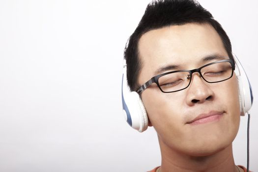 Young man enjoy the music