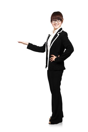 Full body young smiling businesswoman