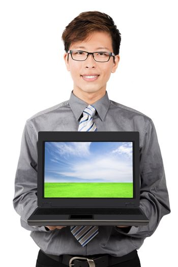 Young businessman introduction and sales laptops.