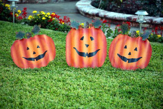 Metal face pumpkins