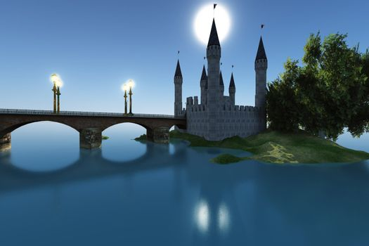 A castle gleams in the moonlight in the still waters of the sea.