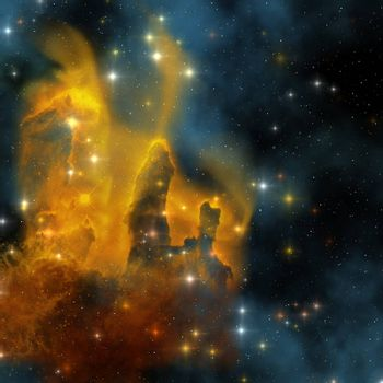 The famous colorful nebula shines bright with star making in its clouds.