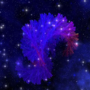 A nebula out in space with vibrant hues of blue and an intricate pattern of filaments.