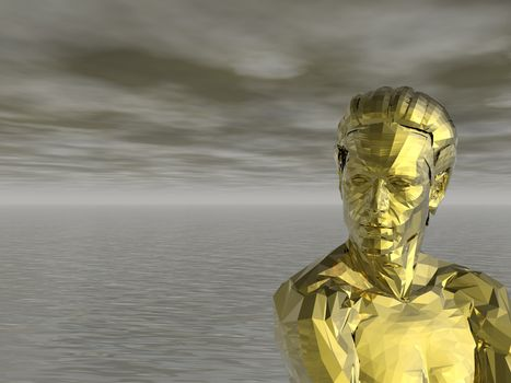 golden statue of a man and water landscape - 3d illustration