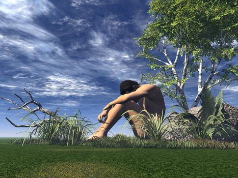 lonely man on a green field - 3d illustration