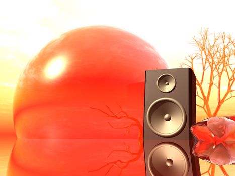 loudspaeker in a strange landscape - 3d illustration
