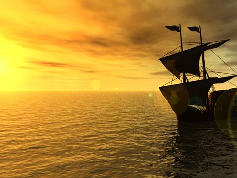 sailing ship in the sunset - 3d, illustration