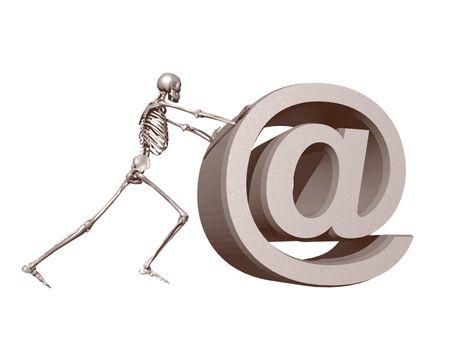 a skeleton pushes an at symbol - 3d illustration