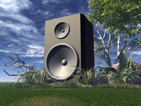 big speaker on green field - 3d illustration
