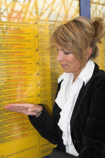 Checking the train schedule