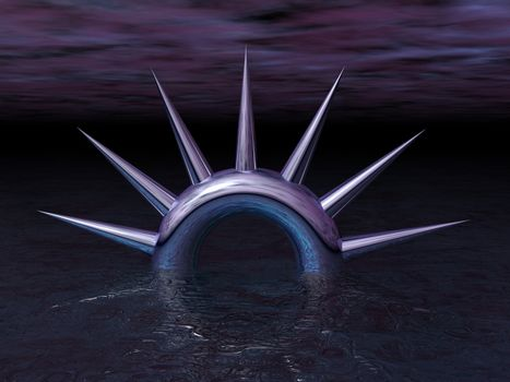 abstract thorns ring in dark water - 3d illustration