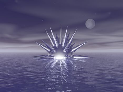 abstract thing swims on thewater - 3d illustration