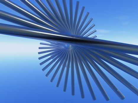 abstract swirl thing in the blue sky - 3d illustration