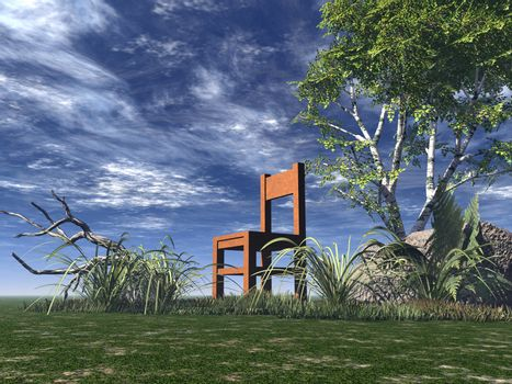 lonely chair on green field - 3d illustration
