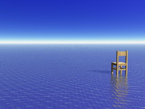 lonely chair at the ocean - 3d illustration