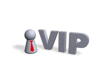 vip text in 3d and play figure - 3d illustration