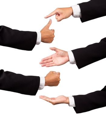 Multiple businessman hands isolated on white background