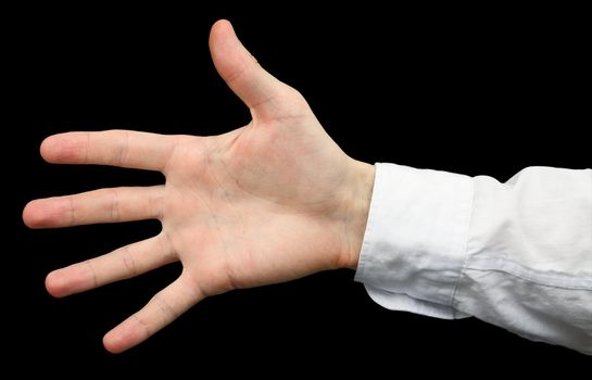 Hand with a white sleeve on  black