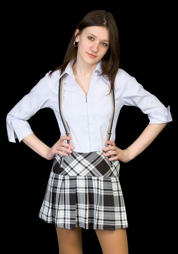 Beauty in a white shirt and skirt on black