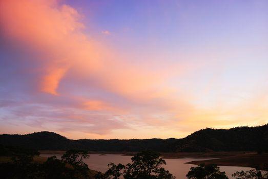 Blue and Purple Sunset Above Lake