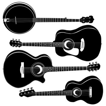 Acoustic guitars in vector