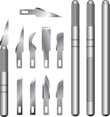 Hobby knife handles and blades