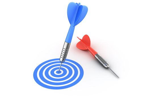 3d rendering of a dart hitting the target and one missed