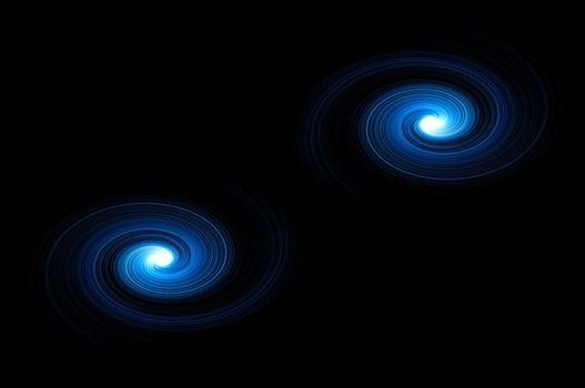 Two blue light swirls against black background