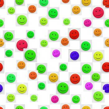 seamless texture of bright smiley faces on white
