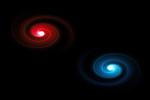 Blue and red light effect swirls against black background