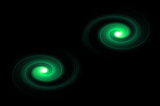 Two green light swirls against black background