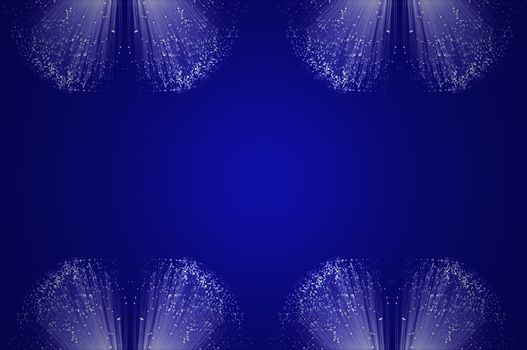 Many small groups of illuminated fibre optic light strands arranged in formation along the top and bottom of the image against a blue background.