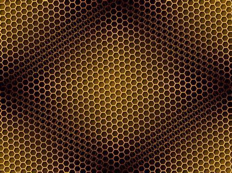 Seamless golden honeycomb on brown background with light effect.