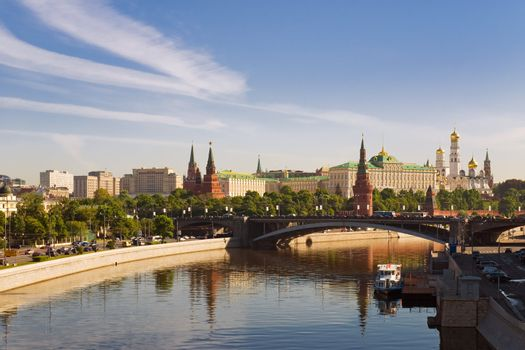 Russian Moscow Kremlin near the Moscow-River