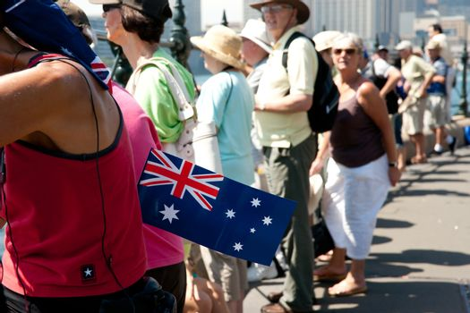 SYDNEY, AUSTRALIA - JANUARY 26: People celebrating Australia Day at Sydney's waterfront January 26 2011. Australia day is a major annual day of patriotism and celebration in Australia.