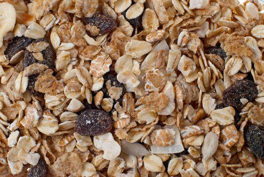Bran and raisin cereals background