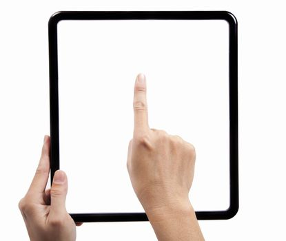 Hand  holding a black square frame and finger try to touch the pad