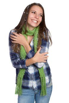 Beautiful happy cold winter girl