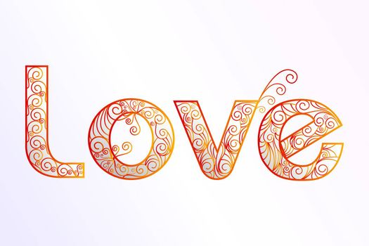illustration of floral love text on white background
