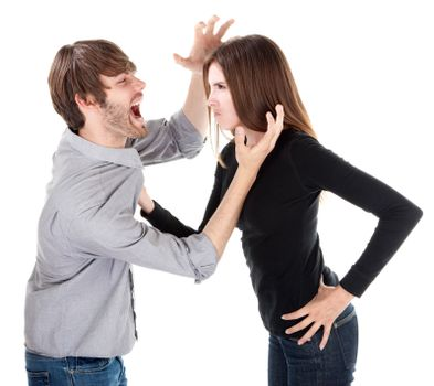 Couple in physical argument