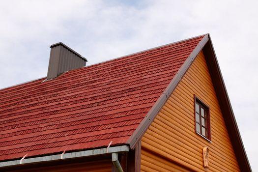 Fragment of restored wooden house