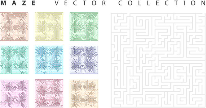 Vector set of the 10 mazes isolated on white background