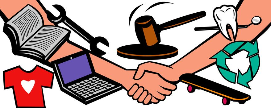 illustration showing two hands in handshake closing a deal at auction with gavel hammer going down and different goods and services like dental, repair, books, laptop computer, recycling services isolated on white background.