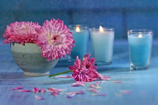 Chrysanthemum flowers with candles