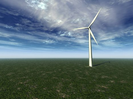 windmill on a gren field with cloudy sky - 3d illustration