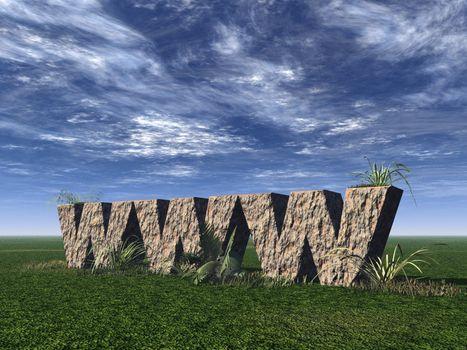 www rock on a green field - 3d illustration