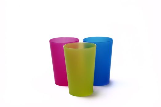 Color toothbrush holders on the white background